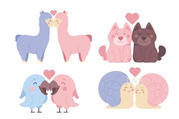 彩色动物情侣矢量图