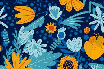 蓝色创意花草背景图