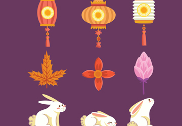 中秋节灯笼兔子卡通矢量图