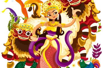 传统泰国舞蹈矢量图