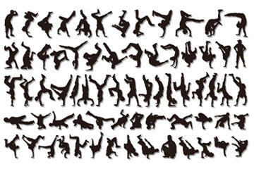 嘻哈舞蹈人物剪影矢量图