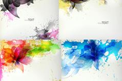 彩色泼墨花卉背景图