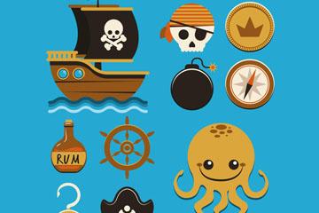 10款可爱海盗图标矢量素材