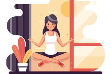 瑜伽美女插画图片