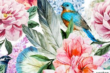 花鸟无缝背景图