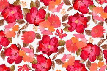 水彩红色花卉背景图