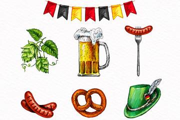 7款啤酒节图标矢量图片