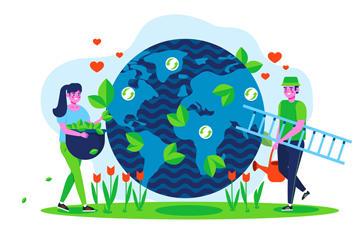 保护地球矢量图