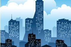 都市建筑剪影矢量背景图片