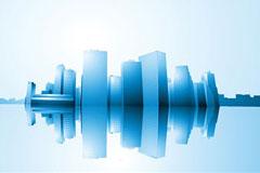 城市建筑湖面倒影矢量素材