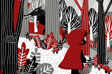 创意童话小红帽插画矢量素材