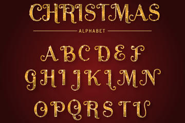 金色圣诞节字母图片