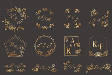 金色婚礼艺术字元素