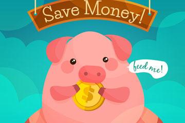 储蓄罐金猪卡通图片