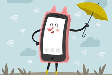 手机WIFI创意插画矢量图