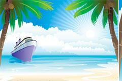 大海和轮船风景矢量素材