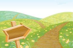 春天的小路矢量背景图片