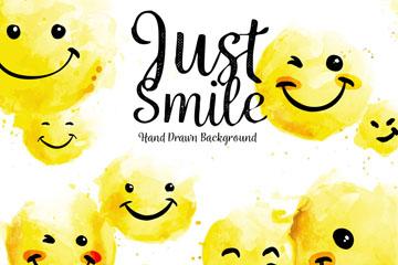 水彩黄色笑脸矢量素材