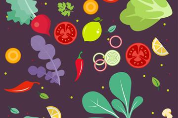 蔬菜水果无缝背景图