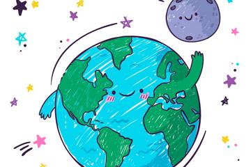 彩绘打招呼的地球插画图片