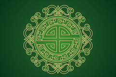 中国风绿色花纹矢量图