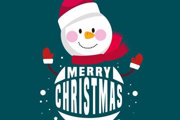 圣诞节创意雪人插画