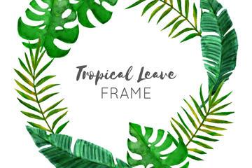 热带树叶边框
