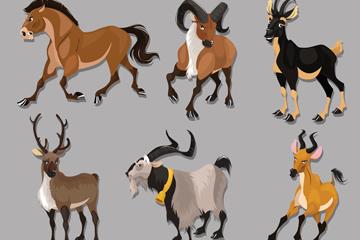 奔跑野马藏羚羊矢量素材