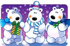 圣诞主题卡通熊矢量图