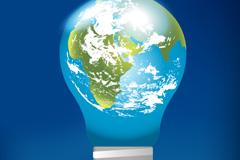 地球灯泡创意矢量图