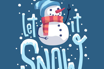 可爱雪人艺术字图片