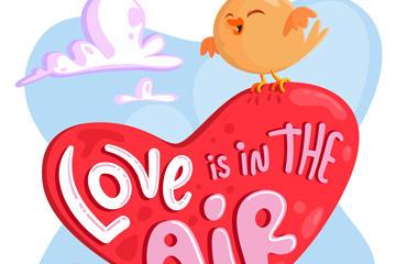 爱心小鸟插画素材