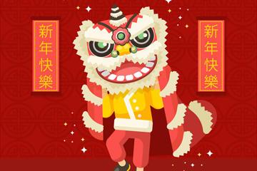 春节舞狮贺卡矢量图