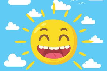 卡通太阳笑脸矢量素材