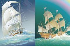 大海上航行的帆船矢量素材