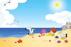 海边玩耍的孩子卡通插画图片