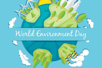 世界环境日地球矢量图