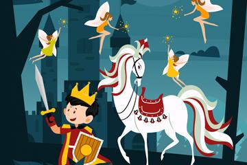 创意童话王子和白马矢量素材
