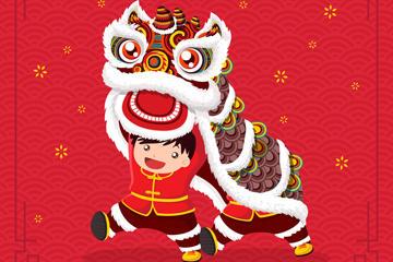 春节舞狮矢量图