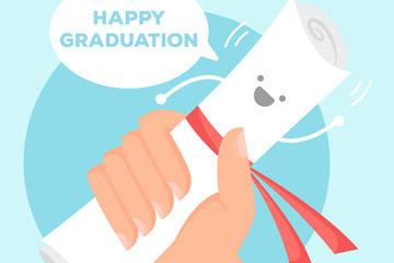 毕业快乐创意插画矢量图