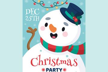 雪人圣诞派对宣传单
