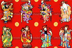 传统门神年画矢量图