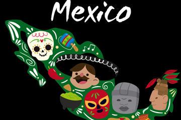 卡通墨西哥元素地图