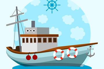 海上帆船矢量图