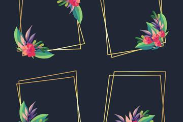 花卉金色边框