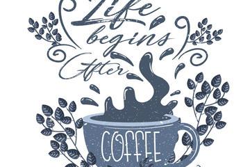 咖啡艺术字矢量图