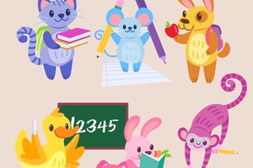 动物上学矢量图