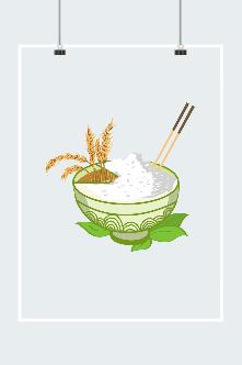 珍惜粮食插画图片