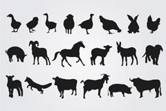 卡通动物剪影简笔画图片
