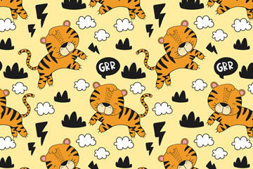 可爱老虎无缝背景图